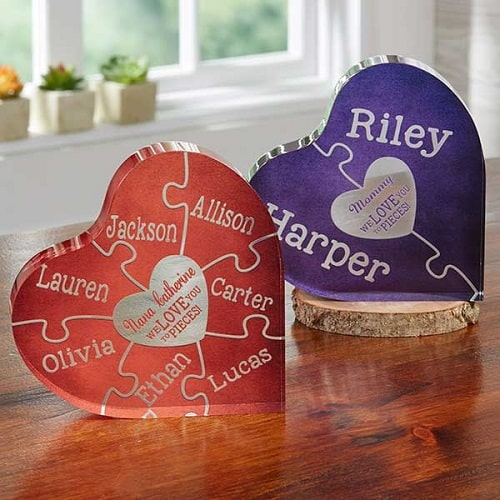 We Love You To Pieces Personalized Colored Heart Puzzle Keepsake