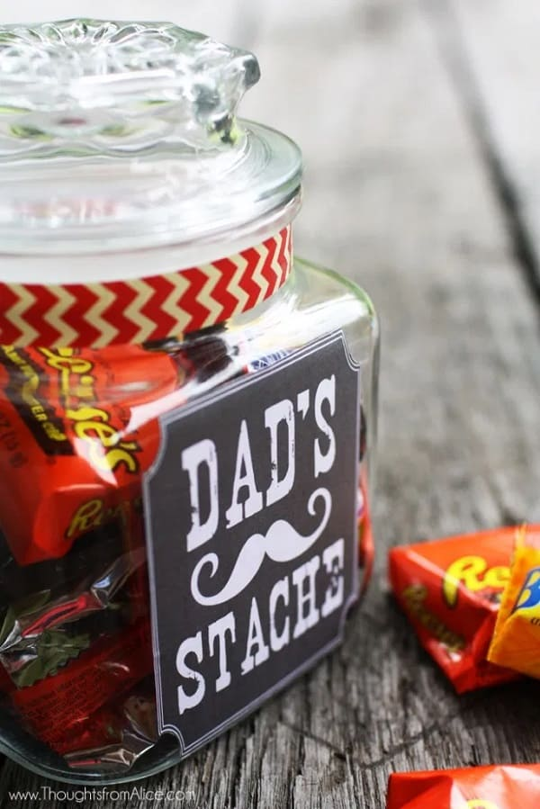 """""""Dad's Stache"""" Gift Jar - DIY Gifts for Dad"""