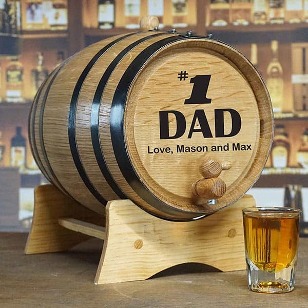 #1 Dad Personalized 2 Liter Whiskey Barrel - Personalized Gifts for Dad Under $100