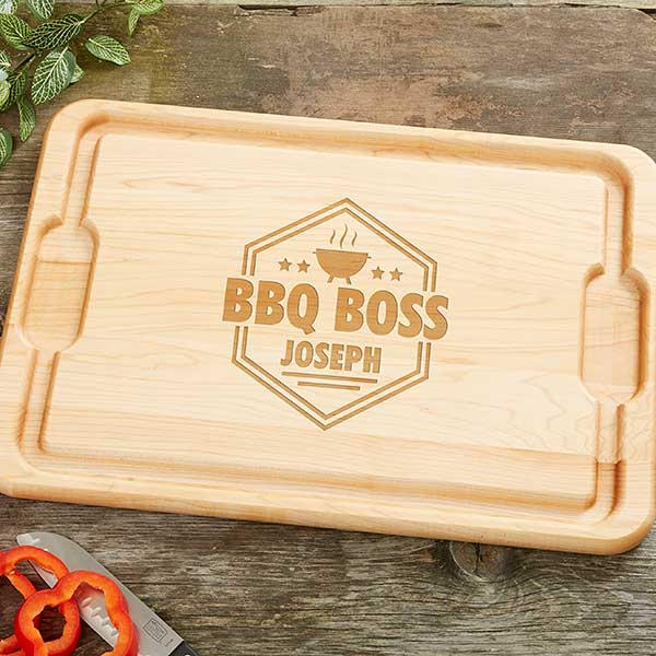 BBQ Boss Personalized Maple Cutting Board