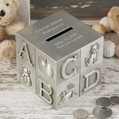 Baby Block Engraved Pewter Piggy Bank