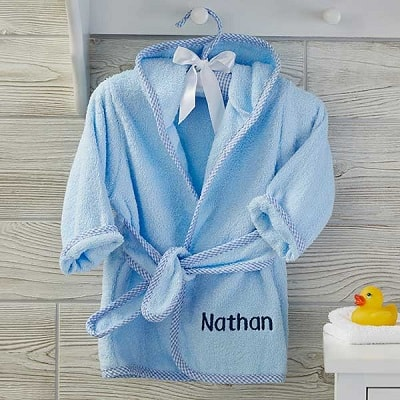 Blue Soft Terry Embroidered Baby Robe