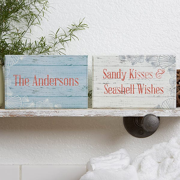 Coastal Home Personalized Rectangle Shelf Blocks- Set of 2