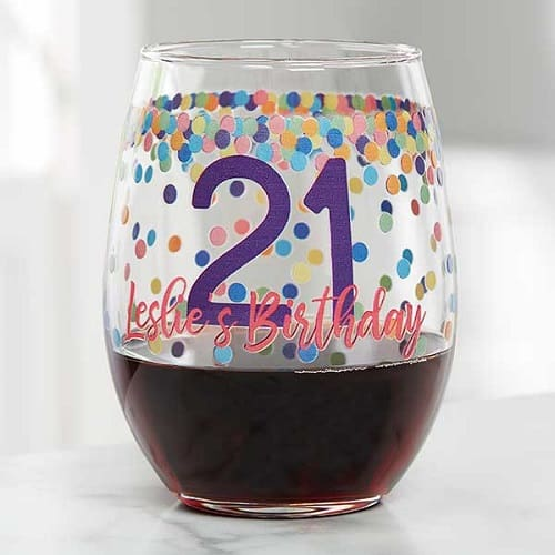 Confetti Cheers Personalized Birthday Stemless Wine Glass
