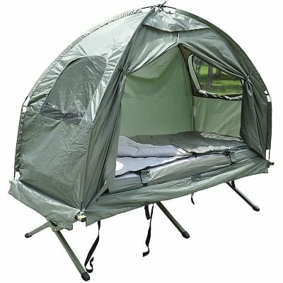 Deluxe 4-in-1 Compact Folding Dome Shelter Tent with Sleeping Bag Air Mattress Pillow