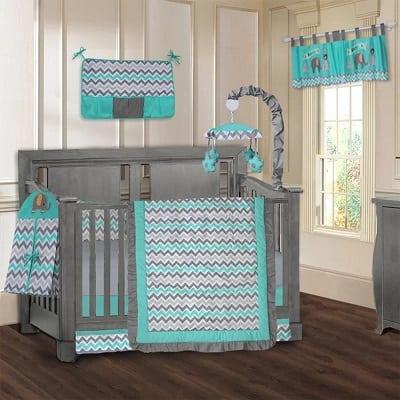 Elephant ZigZag 9 Piece Crib Bedding Set