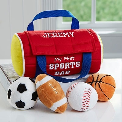 Embroidered My First Sports Bag by Baby Gund - Perosnalized Baby Gifts for Boys