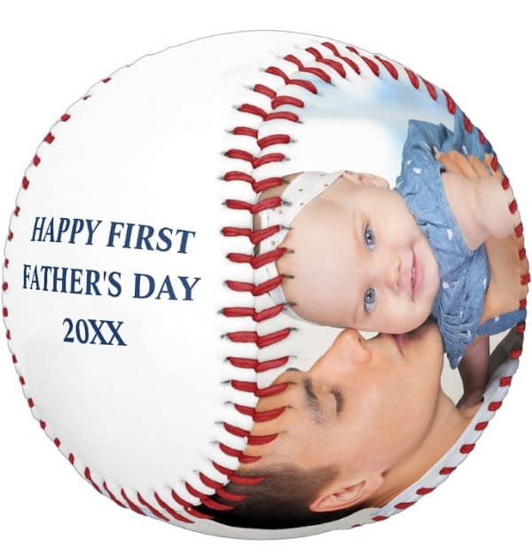 Happy First Father's Day Photo Baseball