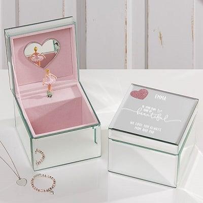 Her Heart Personalized Mirrored Ballerina Musical Jewelry Box