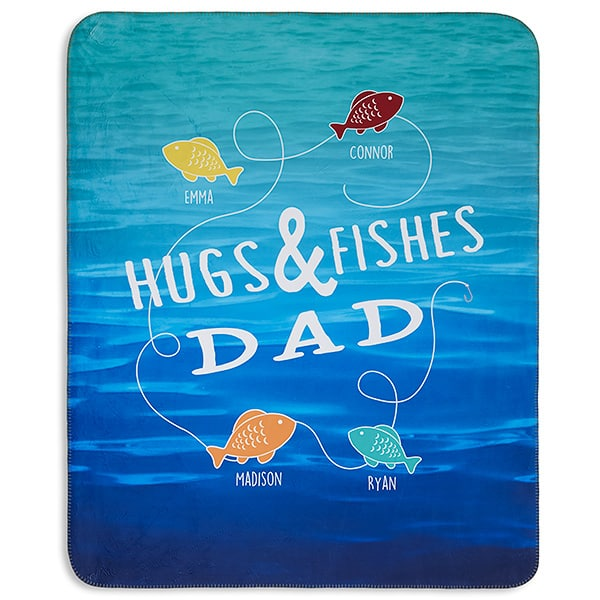 Hugs & Fishes Personalized Premium 60x80 Sherpa Blanket