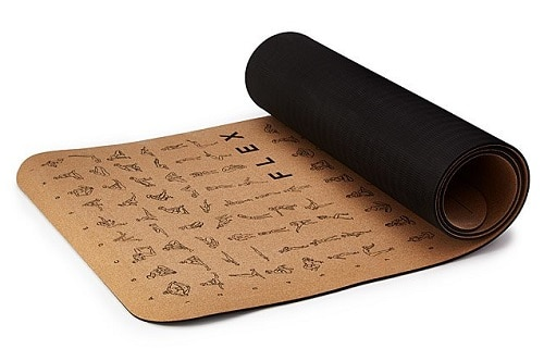 Instructional Cork Yoga Mat - Home Workout Gifts