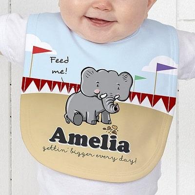 Lovable Elephant Personalized Baby Bib