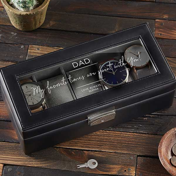 Message to Dad Personalized Leather Watch Box