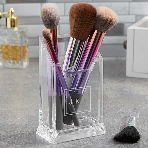 Monogrammed Acrylic Makeup Brush Holder