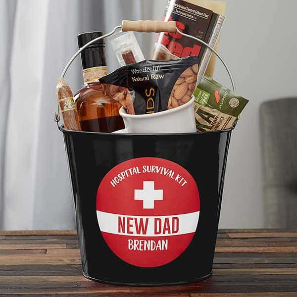New Dad Survival Kit Personalized Metal Bucket