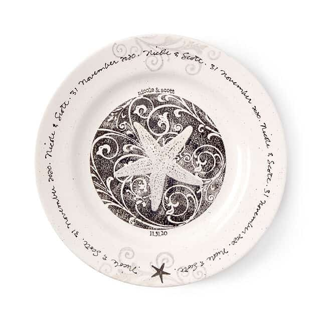 Personalized Coastal Wedding Plate