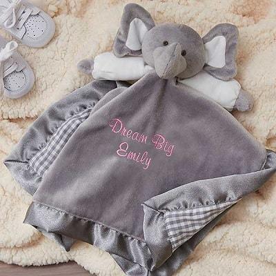 Personalized Elephant Baby Blankie - Perzonalized Baby Gifts