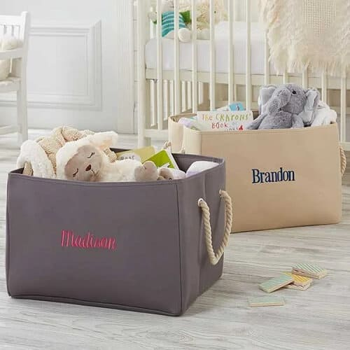Personalized Embroidered Storage Tote- Natural