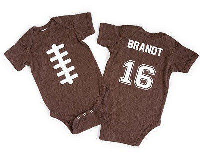 Personalized Football Babysuit - Personalized Baby Gifts