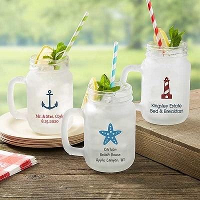 Personalized Nautical Frosted Mason Jar Glass
