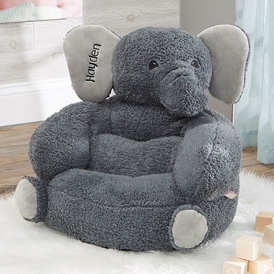Plush Elephant Embroidered Kid's Chair