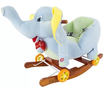 Plush Elephant Wooden Rocking Horse