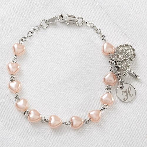 Precious Heart Rosary Engraved Monogram Bracelet