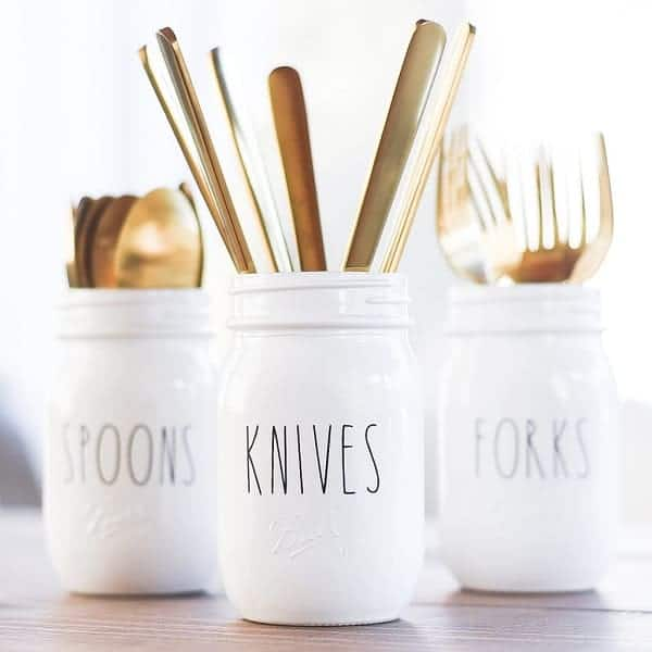 Rae Dunn-Inspired Mason Jar Utensil Holders