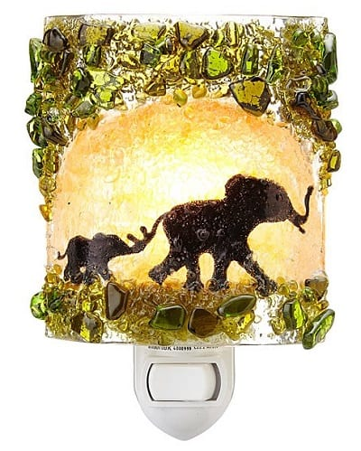 Recycled Glass Elephants Nightlight