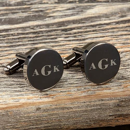 Round Gunmetal Engraved Cuff Links