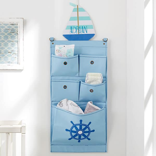 Sailboat Personalized Nursery Wall Organizer
