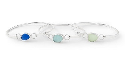 Sea Glass Hinge Bangle Bracelet