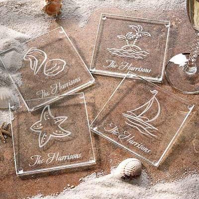 Seashore Personalized Glass Coaster Set