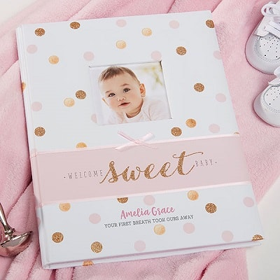 Sweet Sparkle Baby Girl Personalized Memory Book