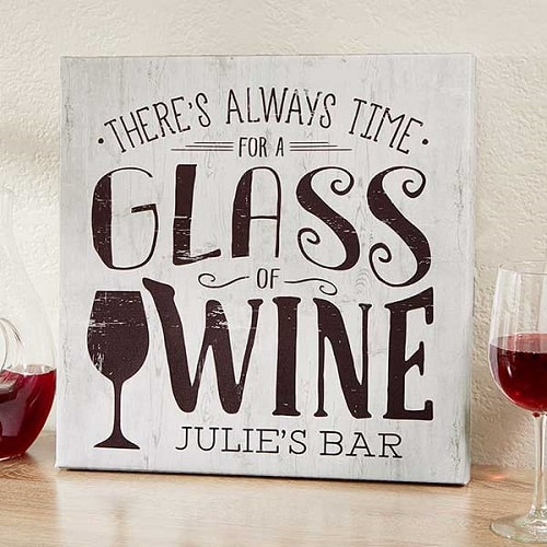 There's Always Time For Wine Personalized Bar Canvas Print