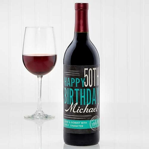 Vintage Age Personalized Birthday Wine Bottle Label