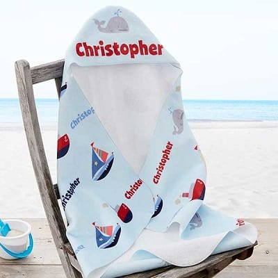 Water World Personalized Baby Hooded Beach and Pool Towel