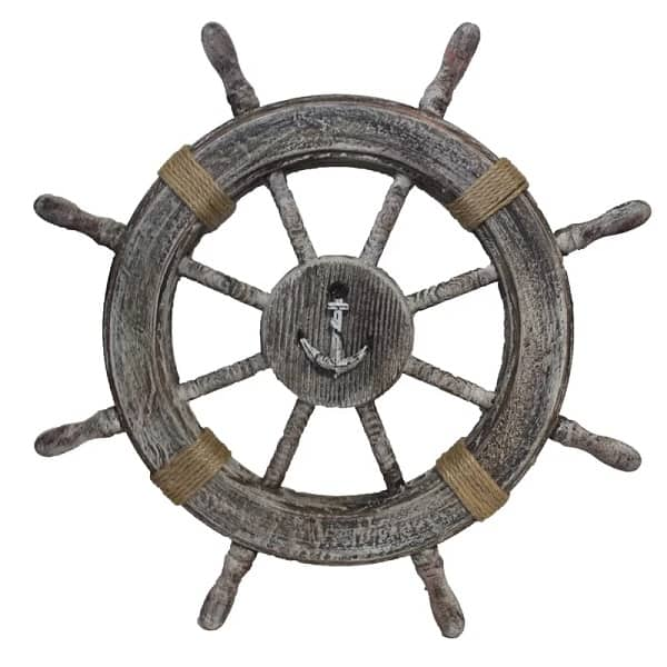Wooden Ship Wheel Sculpture
