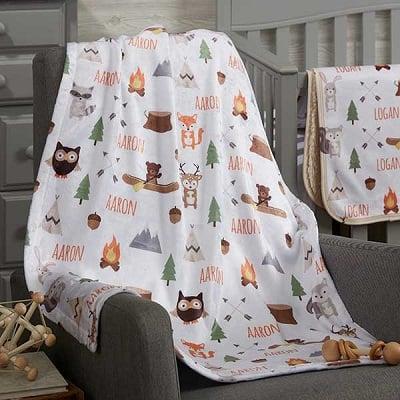 Woodland Adventure Personalized Baby Blanket