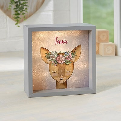 Woodland Floral Deer Personalized LED Light Shadow Box