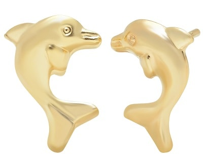 14K Solid Gold Dolphin Stud Earrings