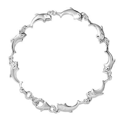925 Sterling Silver Dolphin Link Bracelet