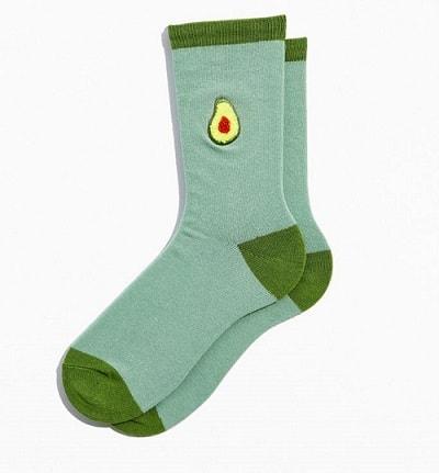 Avocado Chenille Patch Crew Sock