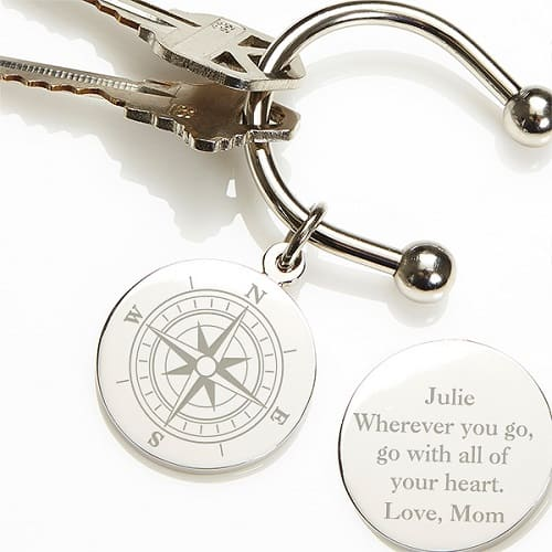 Compass Silver-Plated Personalized Keyring