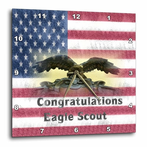 Congratulations Eagle Scout On Flag - Wall Clock