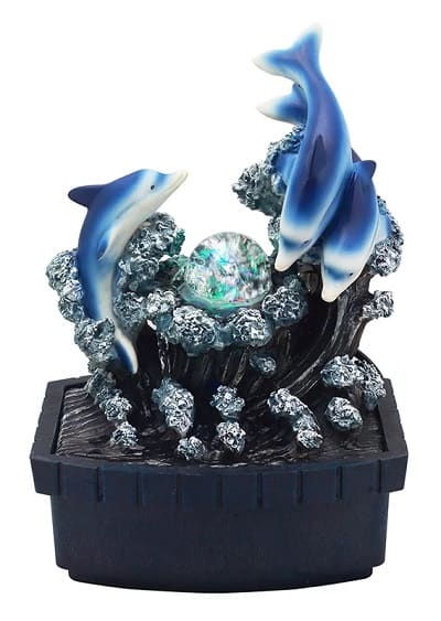 Dolphin Table Fountain with LED Light