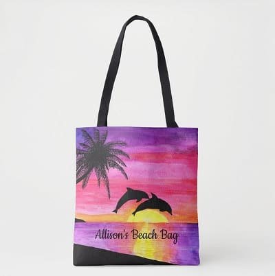 Dolphins Tropical Paradise Personalized Beach Tote