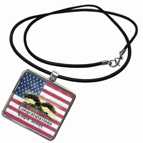 Eagle Scout On Flag Necklace with Pendant
