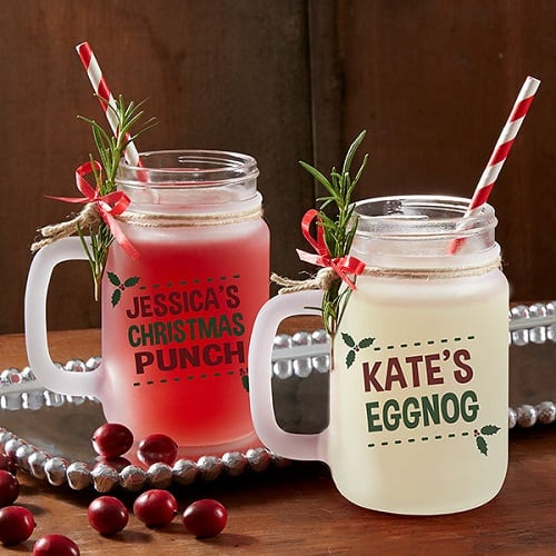 Eat, Drink & Be Merry Personalized Frosted Mason Jar