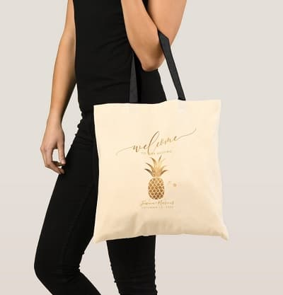 Faux Gold Pineapple Welcome Gifts Tote Bag